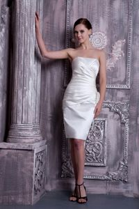 Best Strapless Ruched Knee-length White Dresses for Bridesmaid