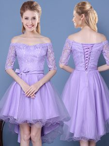 Off The Shoulder Half Sleeves Lace Up Wedding Party Dress Lavender Tulle