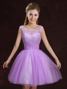 Exquisite Scoop Mini Length Lilac Wedding Party Dress Tulle Sleeveless Lace and Ruching