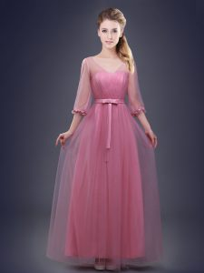 Fine V-neck Half Sleeves Tulle Wedding Guest Dresses Ruching and Bowknot Lace Up