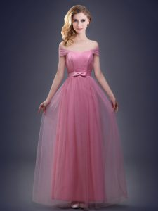Modern Off the Shoulder Tulle Sleeveless Floor Length Wedding Guest Dresses and Ruching and Bowknot