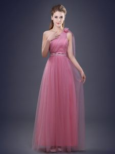 Elegant One Shoulder Sleeveless Lace Up Bridesmaids Dress Pink Tulle