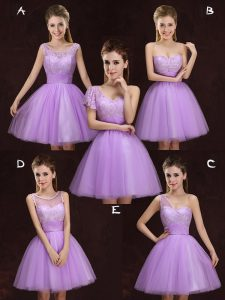 Simple Scoop Mini Length Lilac Wedding Party Dress Tulle Sleeveless Lace and Ruching