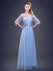 Wonderful Half Sleeves Floor Length Ruching and Bowknot Lace Up Bridesmaids Dress with Light Blue