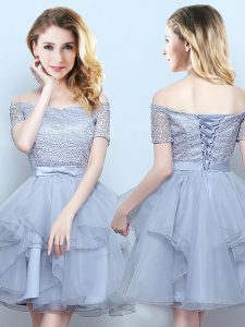 Grey Off The Shoulder Neckline Lace and Ruffles and Belt Wedding Party Dress Short Sleeves Lace Up