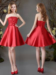 Decent Strapless Sleeveless Bridesmaid Dresses Mini Length Appliques and Bowknot Red Satin
