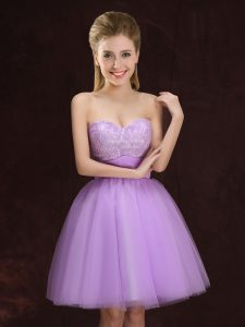 Best Mini Length A-line Sleeveless Lilac Bridesmaid Dresses Lace Up