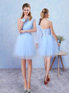 Flirting Aqua Blue Bridesmaids Dress Prom and Party with Belt Asymmetric Sleeveless Lace Up