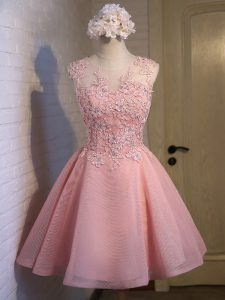 Superior Sleeveless Organza Mini Length Lace Up Wedding Party Dress in Pink with Lace