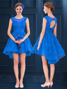 Sleeveless High Low Lace and Belt Clasp Handle Wedding Party Dress with Blue