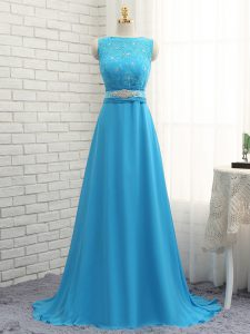 Fantastic Baby Blue Empire Asymmetric Sleeveless Chiffon Brush Train Zipper Beading and Lace Bridesmaid Gown