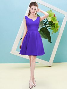 Latest Purple Bridesmaids Dress Prom and Party and Wedding Party with Ruching Asymmetric Sleeveless Zipper