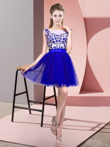 Sleeveless Tulle Mini Length Zipper Bridesmaid Dress in Blue with Lace
