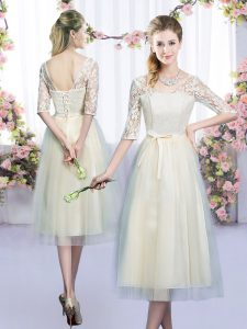 Champagne Wedding Guest Dresses Wedding Party with Lace and Bowknot V-neck Half Sleeves Lace Up