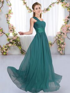 Sleeveless Lace Up Floor Length Ruching Wedding Guest Dresses