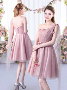 Best Pink Bridesmaids Dress Wedding Party with Appliques and Belt One Shoulder Sleeveless Lace Up