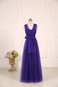Captivating Tulle Straps Sleeveless Zipper Ruching Bridesmaid Gown in Purple