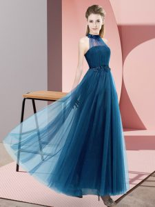 Tulle Halter Top Sleeveless Lace Up Beading and Appliques Bridesmaid Gown in Blue