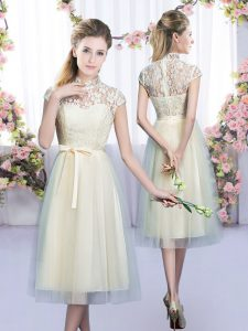 Tulle Cap Sleeves Tea Length Bridesmaid Dress and Lace and Bowknot