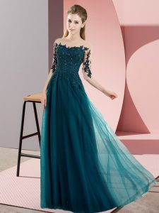 Customized Peacock Green Empire Chiffon Bateau Half Sleeves Beading and Lace Floor Length Lace Up Wedding Guest Dresses