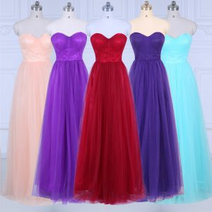 Fitting Floor Length Peach Bridesmaid Dresses Tulle Sleeveless Ruching