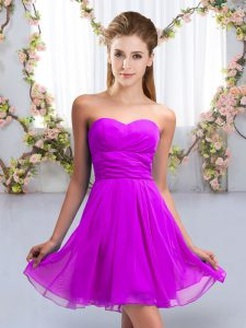 Custom Fit Ruching Bridesmaid Dresses Purple Lace Up Sleeveless Mini Length