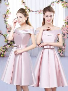 Mini Length Lace Up Bridesmaid Gown Baby Pink for Wedding Party with Bowknot
