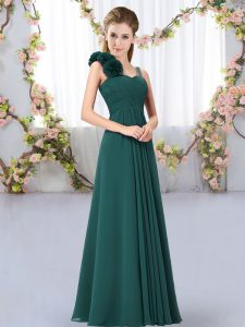 Superior Peacock Green Chiffon Lace Up Straps Sleeveless Floor Length Bridesmaids Dress Hand Made Flower
