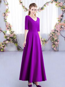 Ankle Length Zipper Wedding Guest Dresses Eggplant Purple for Wedding Party with Ruching