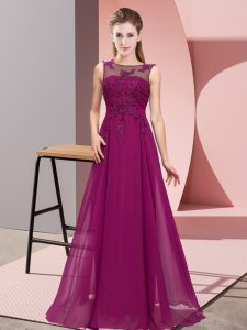 Admirable Sleeveless Zipper Floor Length Beading and Appliques Bridesmaid Gown