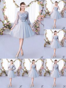 Scoop 3 4 Length Sleeve Lace Up Bridesmaid Dresses Grey Tulle
