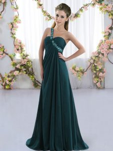 Peacock Green Sleeveless Brush Train Beading Bridesmaid Gown