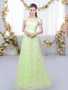 Yellow Green Cap Sleeves Tulle Lace Up Wedding Party Dress for Prom and Party and Wedding Party