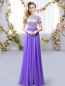 Flare Scoop Short Sleeves Bridesmaid Gown Floor Length Sequins Lavender Chiffon