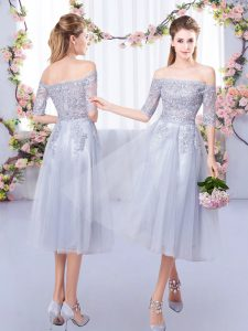 Latest Grey Half Sleeves Lace Tea Length Bridesmaids Dress