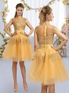 Spectacular Tulle High-neck Cap Sleeves Zipper Lace and Bowknot Wedding Party Dress in Gold