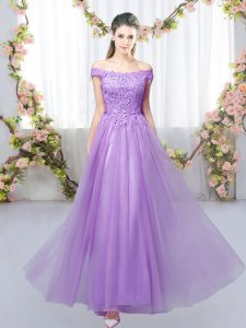 Gorgeous Sleeveless Lace Up Floor Length Lace Wedding Guest Dresses