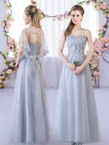 Enchanting Floor Length Grey Wedding Party Dress Sweetheart Sleeveless Lace Up