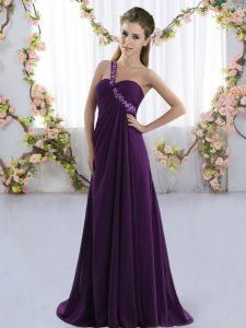 Purple Empire Chiffon One Shoulder Sleeveless Beading Lace Up Bridesmaid Gown Brush Train