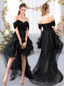 Stylish Black Wedding Guest Dresses Prom and Party and Wedding Party with Lace and Ruffled Layers Off The Shoulder Short Sleeves Lace Up