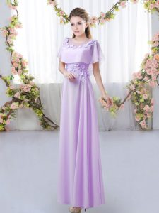 Traditional Lavender Short Sleeves Chiffon Zipper Bridesmaid Dresses for Prom and Party and Wedding Party