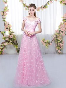 Affordable Rose Pink Tulle Lace Up Bridesmaids Dress Cap Sleeves Floor Length Appliques