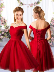 Elegant Tulle Off The Shoulder Sleeveless Lace Up Ruching Bridesmaid Dresses in Red