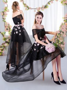 Stylish Black Short Sleeves Tulle Wedding Party Dress for Prom and Party and Wedding Party