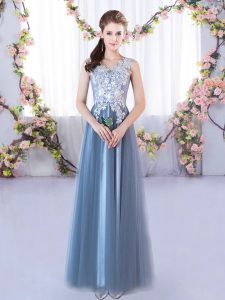 Blue Tulle Lace Up V-neck Sleeveless Floor Length Bridesmaid Gown Lace