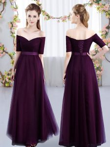 Dark Purple Lace Up Bridesmaid Gown Ruching Short Sleeves Floor Length