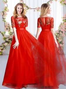 Spectacular Short Sleeves Zipper Floor Length Appliques Bridesmaid Gown