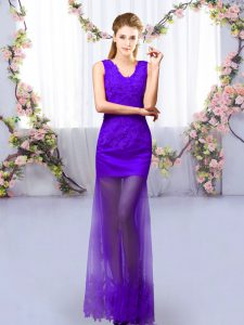 Purple Lace Up Wedding Party Dress Lace Sleeveless Floor Length