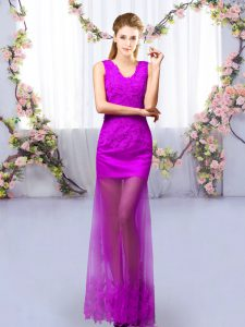 Graceful V-neck Sleeveless Tulle Bridesmaids Dress Lace Lace Up