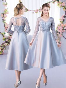 V-neck 3 4 Length Sleeve Lace Up Bridesmaid Dresses Silver Satin
